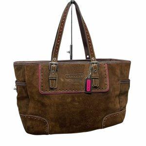 Coach Suede Leather Brown Shoulder Bag F04Q-1430